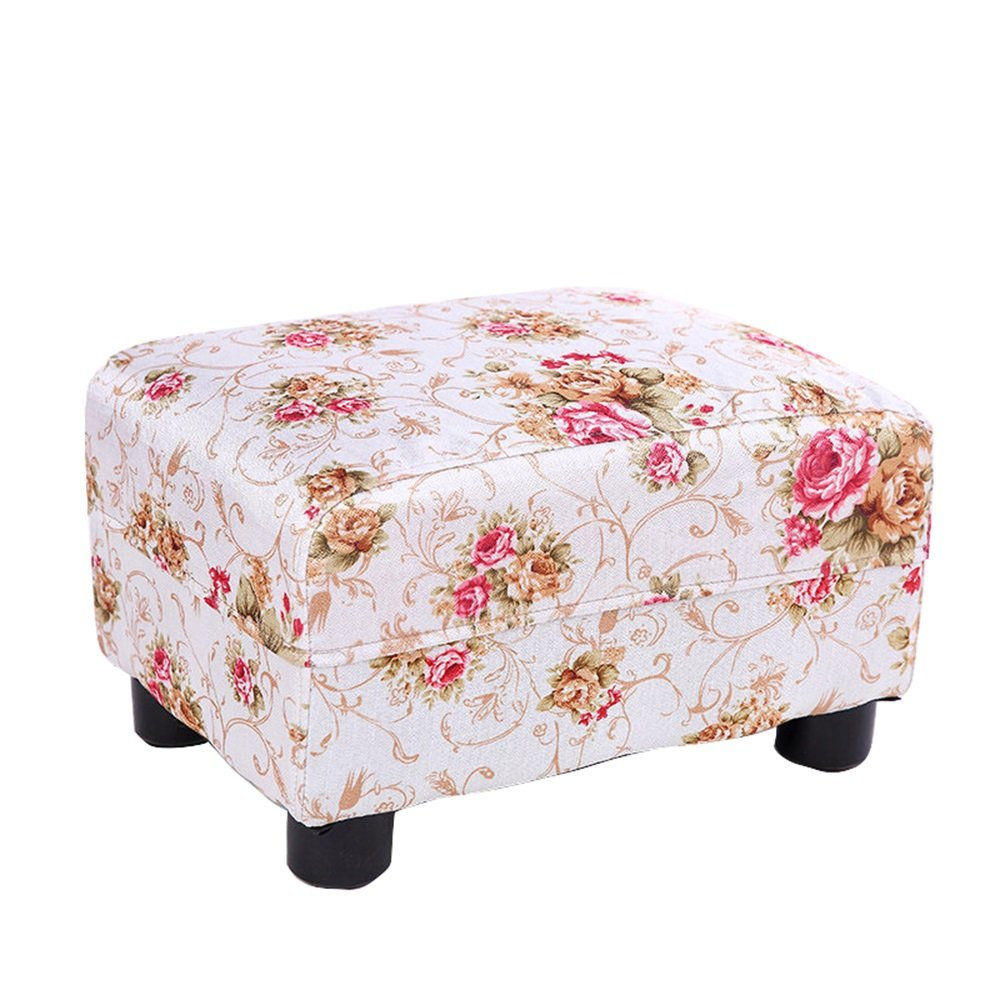 Xin-stool Creative sofa stool/Solid wood adult home stool/Fabric shoes bench/Cotton and linen bed stool/Children's stool/low stool/Bedroom Stool/Living room stool/Coffee table stool/243522cm
