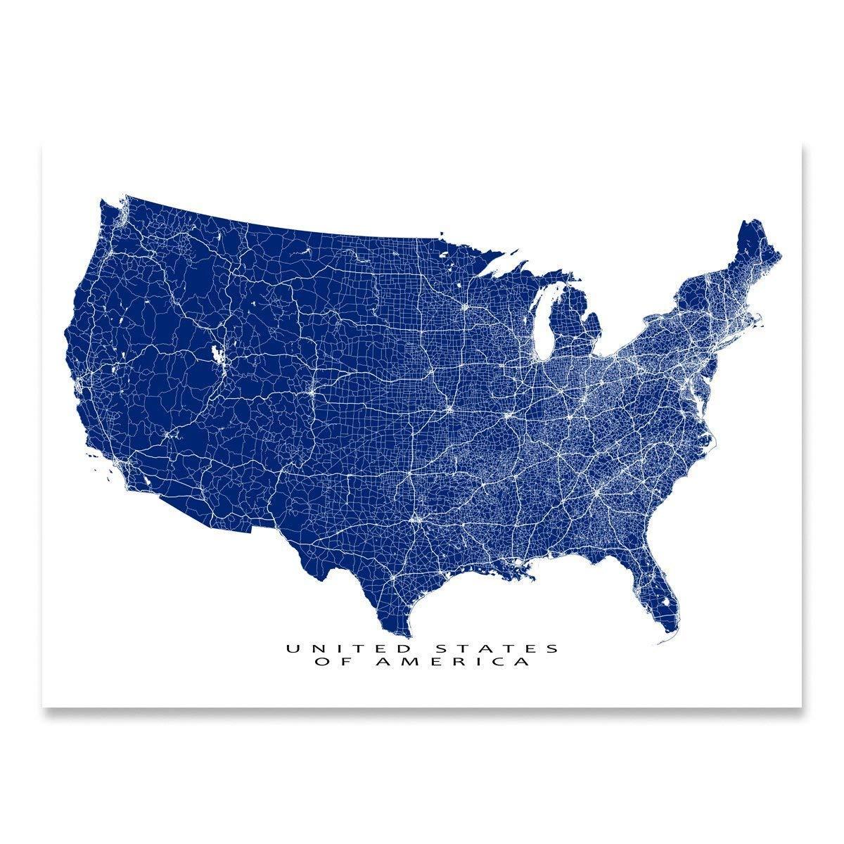 Amazon.com: USA Map Print, United States of America Road ...