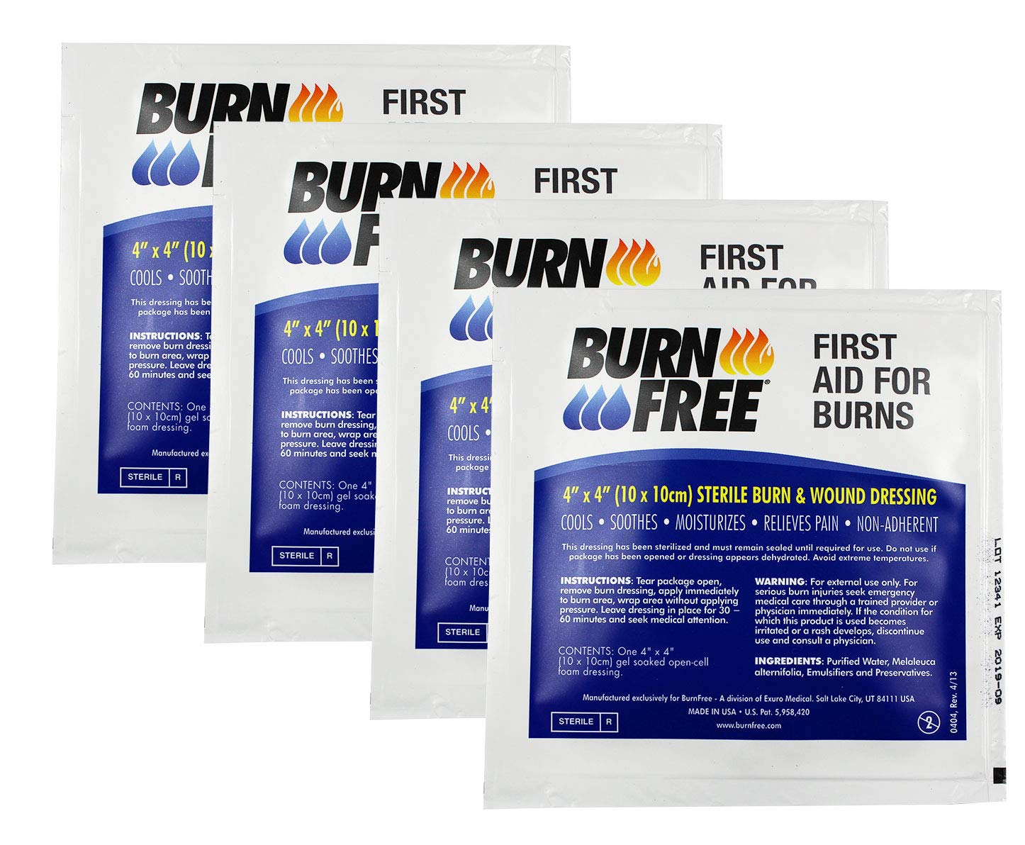 Burn Free Pain Relieving Gel Dressing 4'' x 4'' Sterile Burn & Wound Dressing 4 Pack/Cools, Soothes, Moisturizes, Relieves Pain, Non-Adherent - FIRST AID FOR BURNS