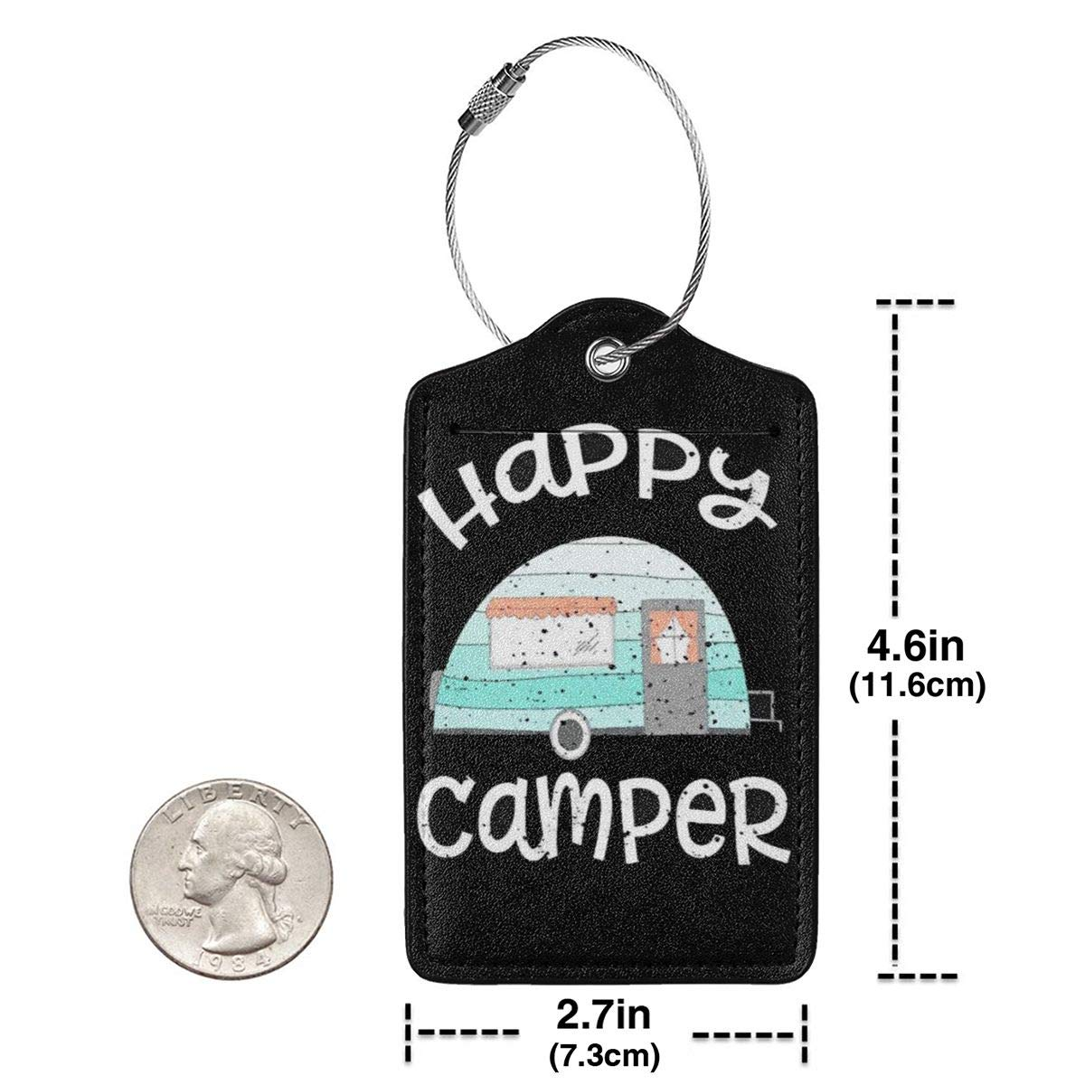 NEPower Happy Camper PU Leather Luggage Tag with Name ID Card Perfect to Quickly Spot Luggage Suitcase