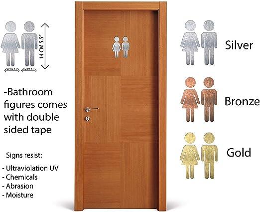 Area de aseo- Men and women Signo de puerta de ba/ño masculino y femenino WC Toilet Men and women indoor /& outdoor Aluminium Male and Female Bathroom door sign Restroom plaque