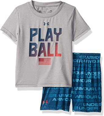 Under Armour Baby Boys Short Sleeve Big Logo Tee Shirt and Short Set Shirt 9//12M Ether Blue