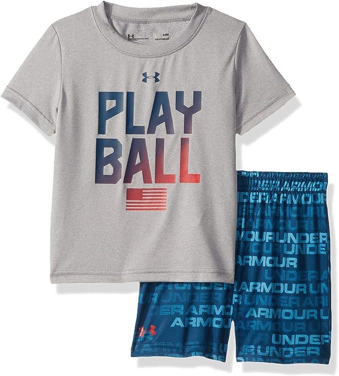 Under Armour Baby Boys Short Sleeve Attitude Tee Shirt and Short Set Shirt White 6//9M