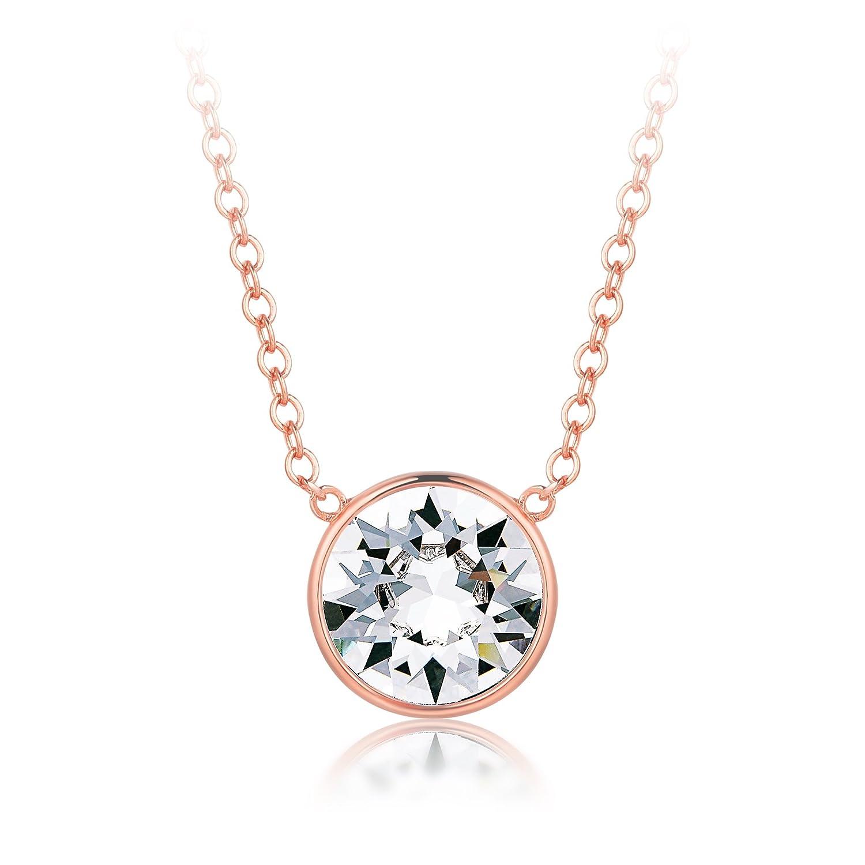 MYJS Bella Collar Bañado Oro Rosa con Cristales Swarovski cm  Extensor