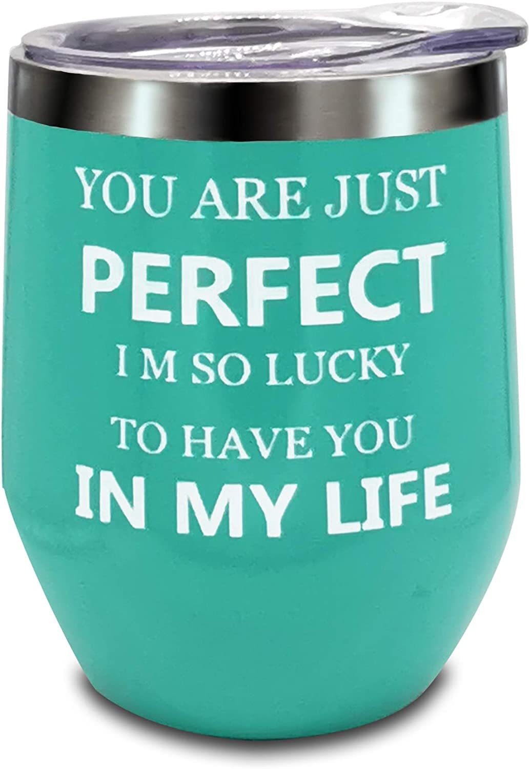 Birthday Gifts for Women Mom Birthday 50th Birthday Best Friend Gifts for Women - Wine Tumbler,Novelty Unique Wine Glass Present for Her, Mom, Grandma, Daughter, Sister-You are just perfect-12oz(Blue)