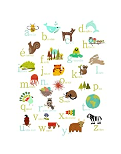 French Alphabet Nature Themed Wall Art Print, 11x14, Nursery Decor, Woodland Nursery, Forest Animals, Kid's Room, Animal ABC Poster, Baby Room