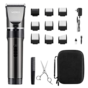 WONER Hair Clippers, Rechargeable Cordless Hair Trimmers for Men Women 16-Piece Home Hair Cutting Kits
