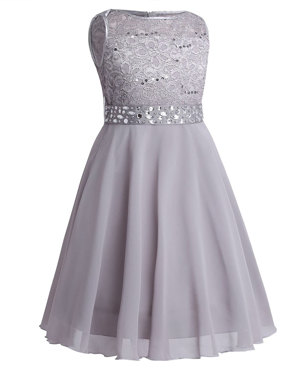 YiZYiF Kids Girls Sequins Lace Floral Wedding Pageant Party Formal Ball Gown Flower Dress