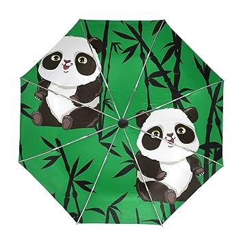 ALAZA Panda Linda bambú Viaje Paraguas de Apertura automática Cerca de Protección UV a Prueba de