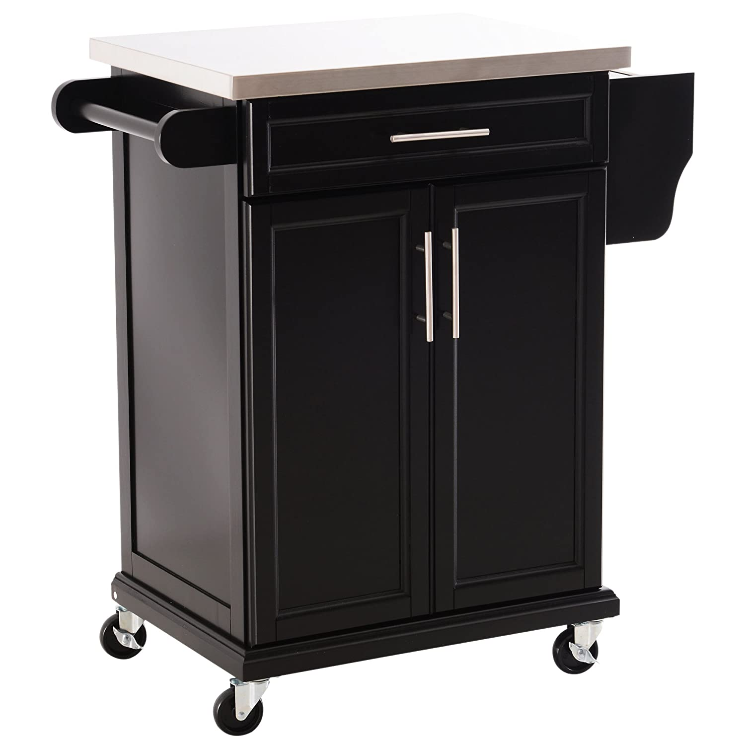 HOMCOM Wooden Kitchen Cart Serving Trolley Storage Cabinet Cupboard with Stainless Steel Top 1 Drawer 4 Wheels Side Handle & Rack - Black Sold by MHSTAR