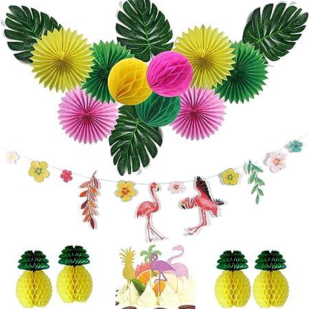 Easy JoyDecoración de Cumpleaños, Fan Pompom Tarjeta para Cumpleaños Fiesta Aniversario, Flamencos Deco Cake