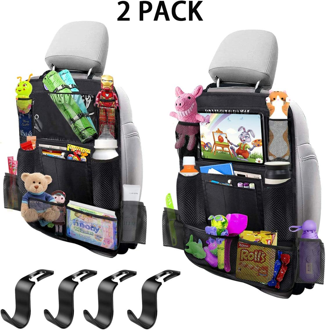 "MIBOTE-UK Car Backseat Organizer 2 Pack 11 Storage Pockets Kick Mats Organiser with 10"" Touch Screen Tablet Holder Car Seat Back Protectors with 4 plastic hooks for Kids and Toddlers"