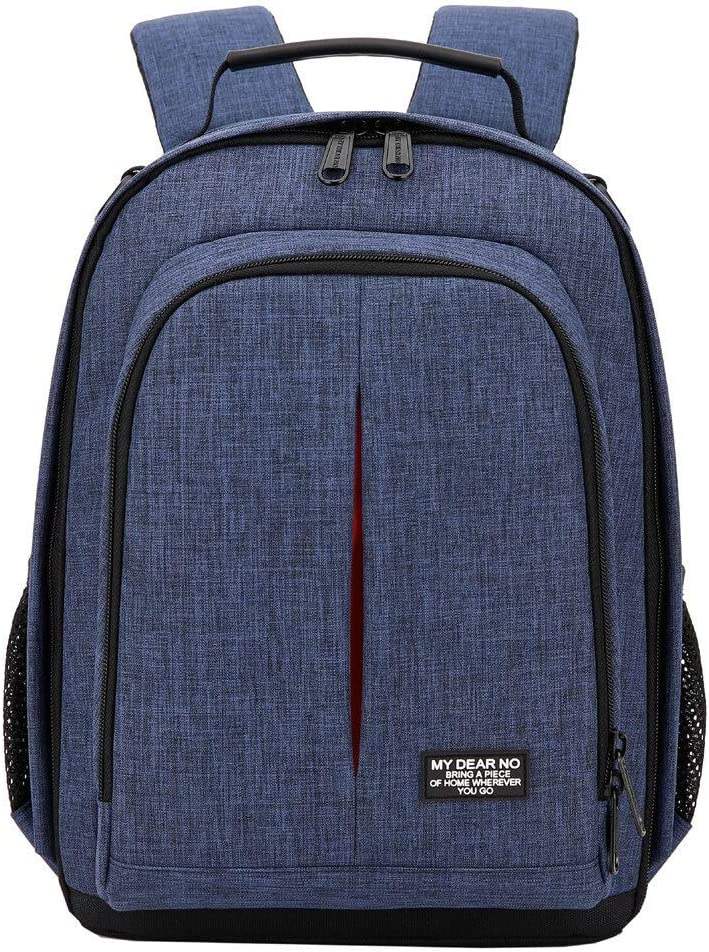 Color : Blue He-lanshangmaobu Fashion Camera case Photo Camera Waterproof Backpack Video Shoulders Soft Padded Bag w//Rain Cover Men Women Case Pack for Canon Nikon DSLR