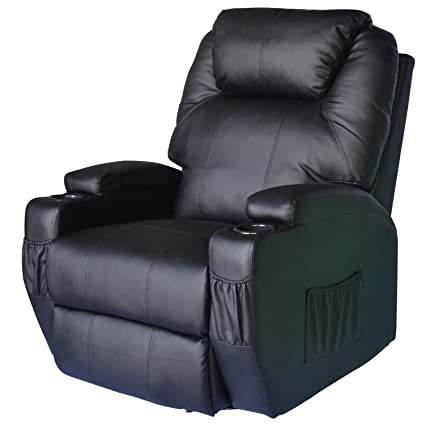 Merveilleux HomCom PU Leather Heated Vibrating 360 Degree Swivel Massage Recliner Chair  With Remote   Black