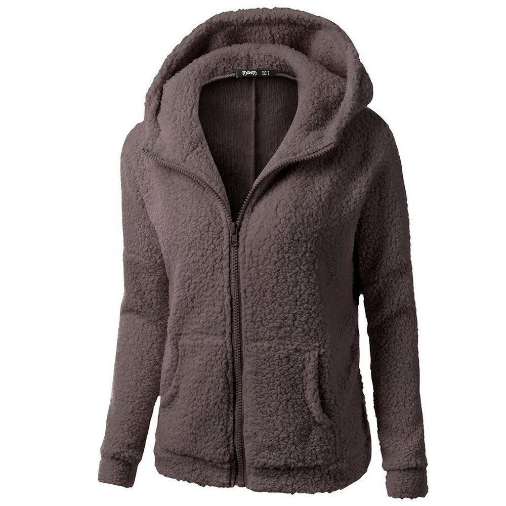 Lmx+3f Women Hooded Cotton Coat Sweater Coat Winter Warm Wool Zipper Coat Outwear Soft Comfy Solid Tops Coffee