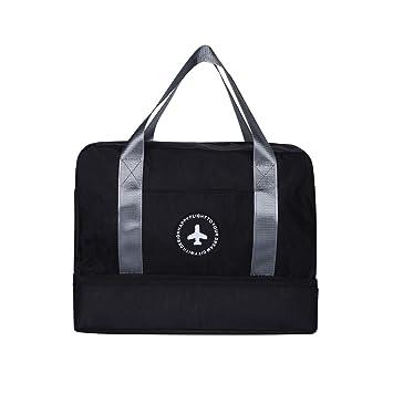 cf90b7ac596 Men Women Waterproof Gym Bag - Sport Duffle Holdall Bag Training Handbag Yoga  Bag Weekend Travel Dry Wet Separation Shoes Isolation Swim Bag(Black)  ...