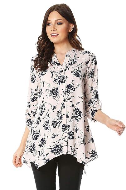 2b956d78c Roman Originals Women Floral Print Roll 3/4 Sleeve Shirt - Ladies ...