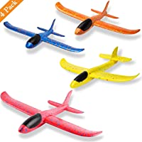Liberty Imports 4 Pack Airplane Toys, Hand Throwing Foam Plane, 2 Flight Mode, Flying Glider Aircraft Outdoor Sport Game Toys, Party Favors for Kids