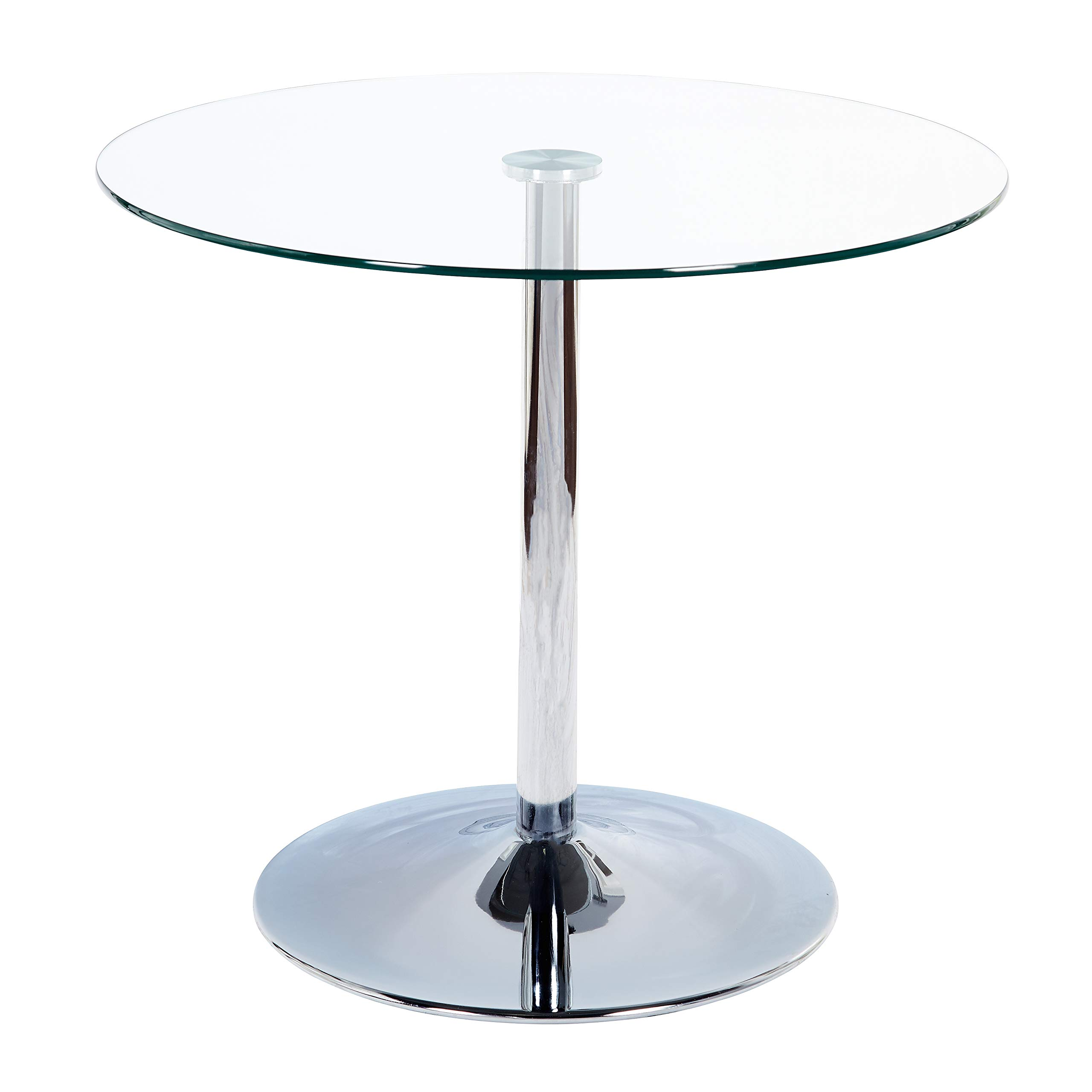 Target Marketing System 89017CLR Pisa Modern Retro Round Dining Table, 35.4'' W, Clear by TMS