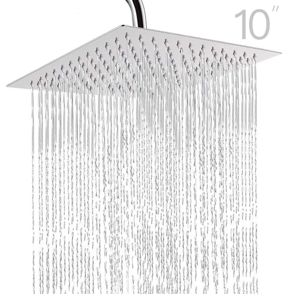 Topmail Alcachofa de ducha con efecto lluvia Cuadrada empotrable con boquillas Cabezal de Ducha antical de acero inoxidable pulido con 144 Jets de Silicona 25x25cm