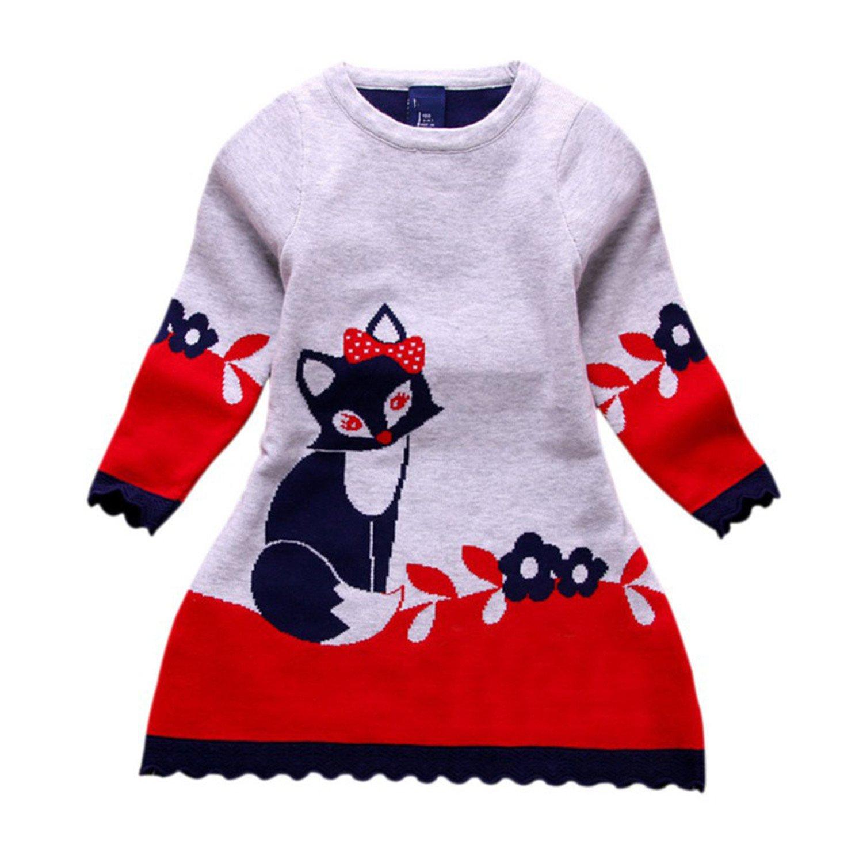 028aa76ee Amazon.com  Coac3 2-7Y Kids Baby Girl Dress Autumn Winter Double ...