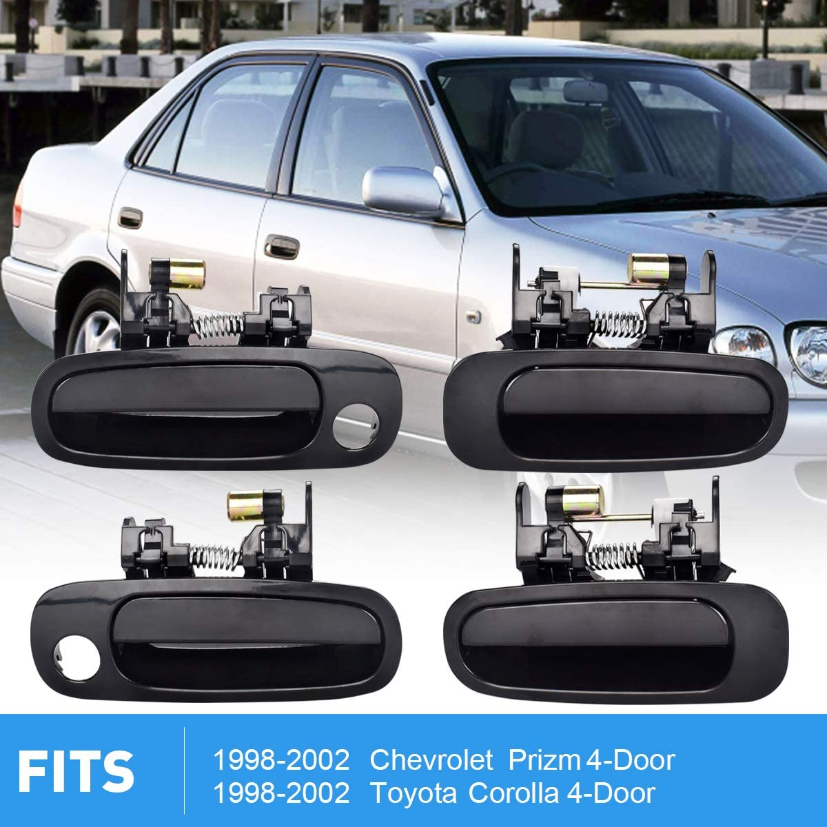 Autex 2pcs Interior Exterior Front Left Door Handles Compatible With Toyota Corolla Chevrolet Prizm 1998 1999 2000 2001 2002 Door Handles Driver Side 79500 80890 77563 80423 Door Handles