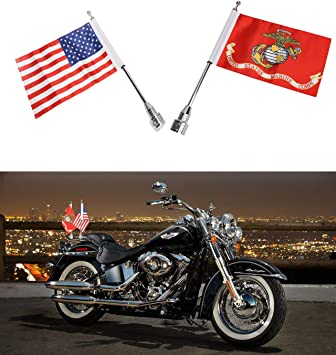 Motorcycle Flag Mount and POW MIA 6 x 9 Flag for Harley Davidson Yamaha Honda Goldwing CB VTX CBR Luggage Rack Mount Flag