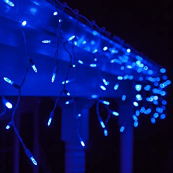 70 M5 Blue LED Icicle Lights 7.5' White Wire - Outdoor Christmas Lights,  Outdoor - Amazon.com: 70 M5 Blue LED Icicle Lights 7.5' White Wire - Outdoor