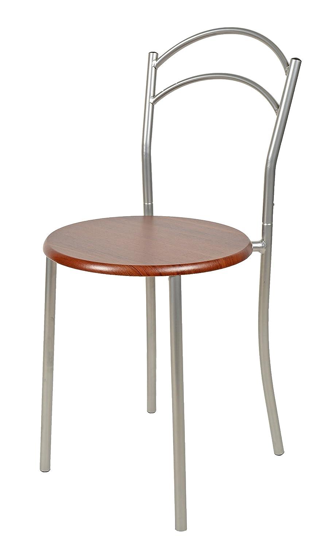 ts-ideen Juego de 3 Piezas Comedor Mesa y sillas para la Cocina Marco de Metal MDF Nogal 75 x 60 cm