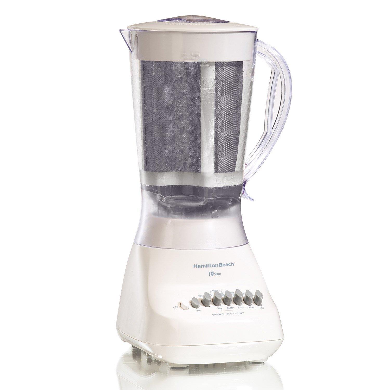 Hamilton Beach Blender with 56 oz Jar & Aguas Fresca Strainer, White (50162)