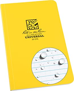 """product image for Rite in the Rain Weatherproof Soft Cover Notebook, 4 5/8"""" x 7 1/4"""", Yellow Cover, Universal Pattern (No. 374), 7.25 x 4.625 x 0.375"""