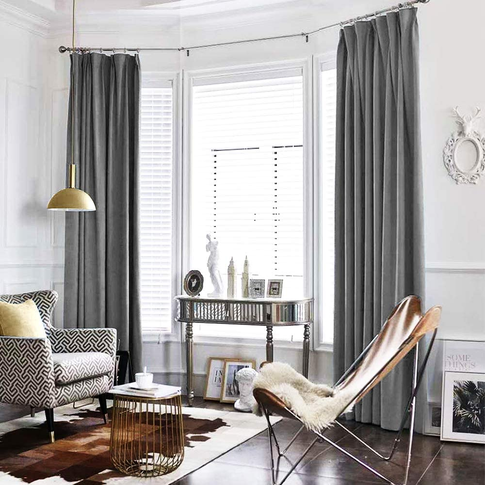 jinchan Velvet Curtain Grey Living Room Rod Pocket Window Curtain Panel 84 inch Long Bedroom Thermal 1 Panel