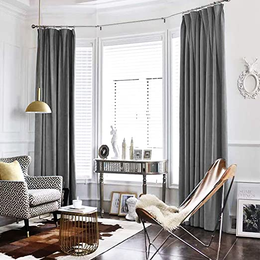 Amazon Com Jinchan Velvet Curtain Grey Living Room Rod Pocket