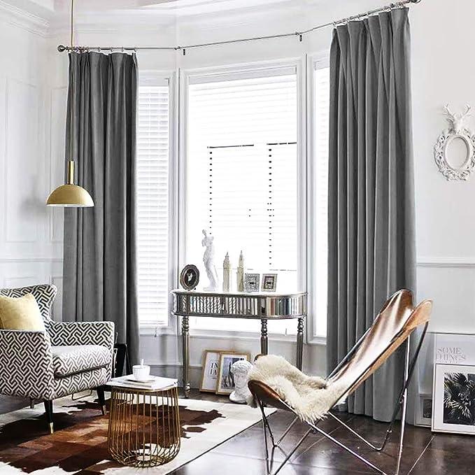 Amazon Com Jinchan Velvet Curtain Grey Living Room Rod Pocket Window Panel 84 Inch Long Bedroom Thermal 1 Kitchen Dining