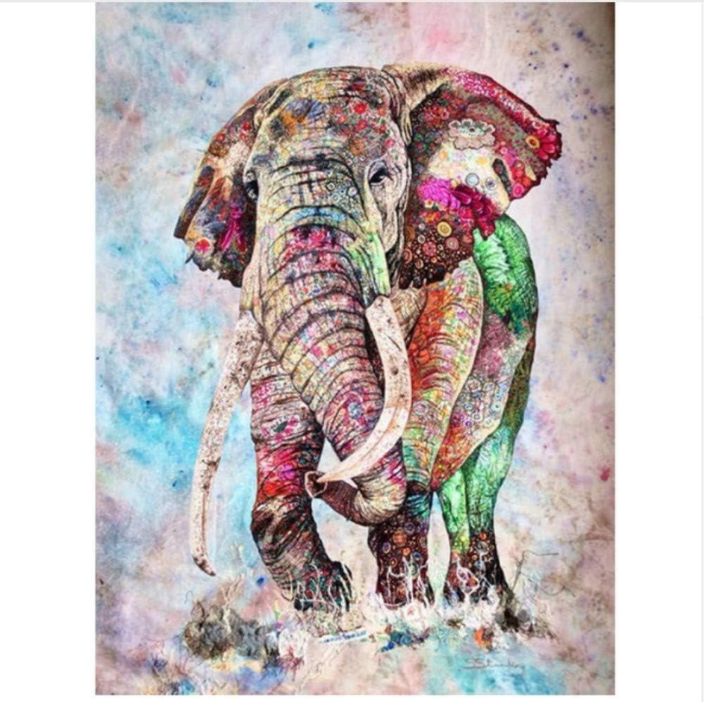 WACYDSD Pintura por Números Elefante Pintado Pintura Al Óleo ...