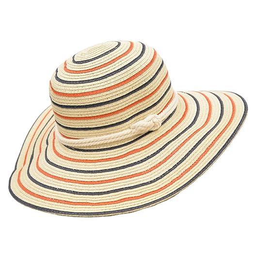 Amazon.com  Classic Straw Floppy Beach Hat w Nautical Rope Hat Band ... 0d05b79748e