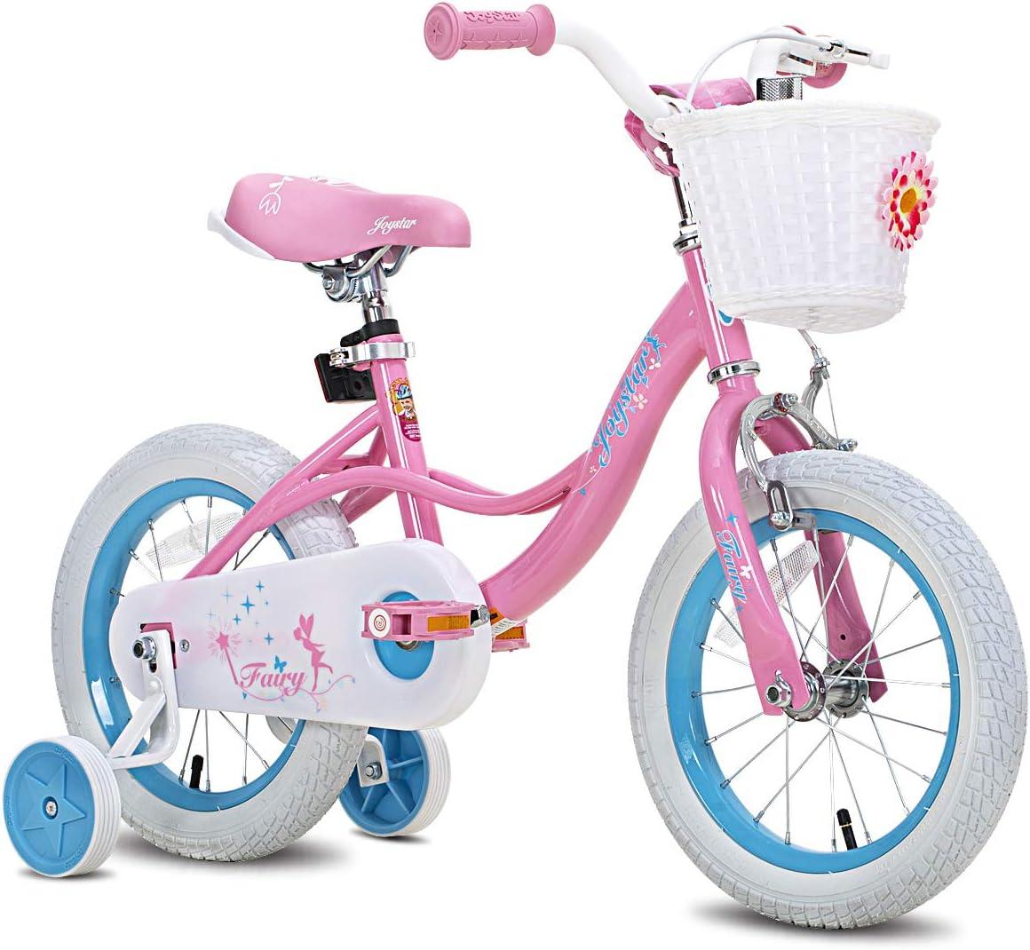 "JOYSTAR Fairy 12"" 14"" 16"" 18"" Inch Kids Bike with Basket & Training Wheels for 2-9 Years Old Girls (Corel & Pink, Purple)"
