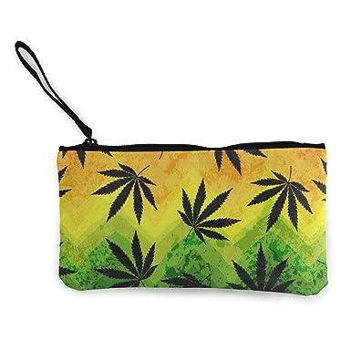 Amazon.com: Monedero de lona colorido geométrico de cannabis ...
