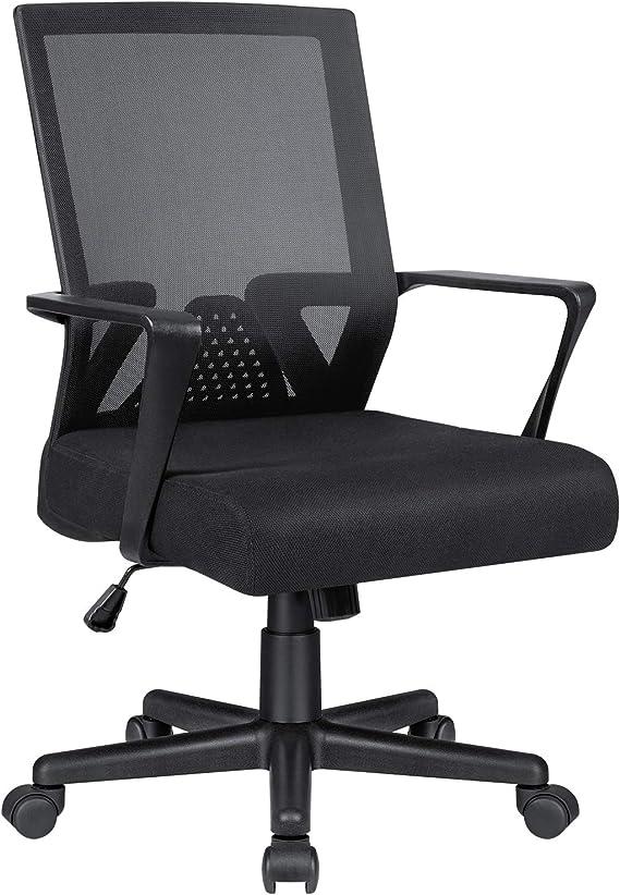 Amazon.com: Office Chair Ergonomic Lumbar Support Desk Mesh Computer Chair Mid Back Swivel Chair with Armrest (Black): Furniture & Decor