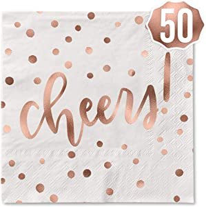 xo, Fetti Cheers Rose Gold Foil Napkins - 50 count | Party Decorations, 5 x 5 inches Cocktail Napkin, 3ply, Bachelorette, New Years Eve, NYE 2021, Christmas, Birthday, Wedding, Baby Shower