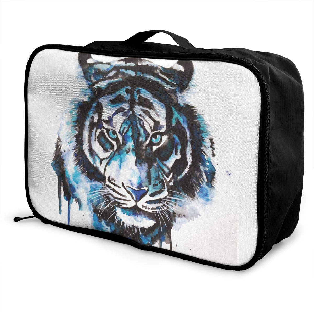 YueLJB Blue Tiger Watercolor Lightweight Large Capacity Portable Luggage Bag Travel Duffel Bag Storage Carry Luggage Duffle Tote Bag