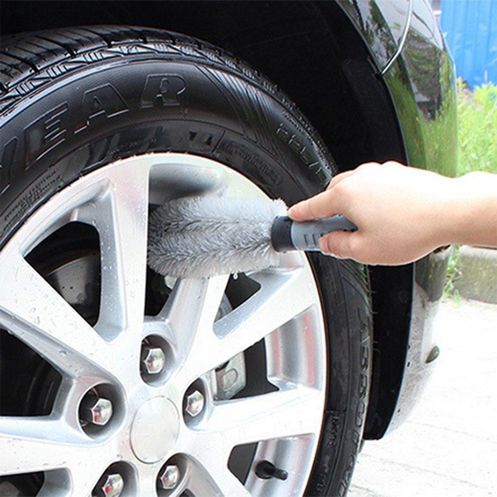 Chytaii Cepillos Llanta Rueda Neum/ático Cepillo para Limpieza de Coche Cepillo de Rueda de Coche Herramienta de Limpieza de Rueda Gris 26CM