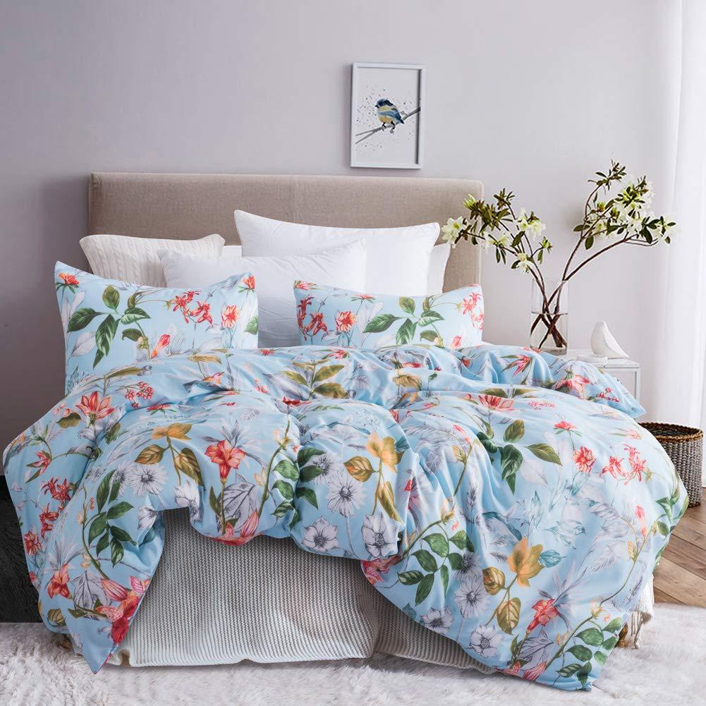 Leadtimes Blue Floral Duvet Cover Full/Queen Boho Bedding Set Soft Lightweight Duvet Comforter Cover (Queen, Blue Floral) by LTS LEADTIMES