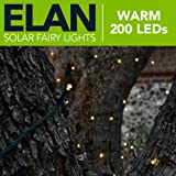 Elan Outdoor Solar LED Fairy Lights - Warm White 200 LEDs