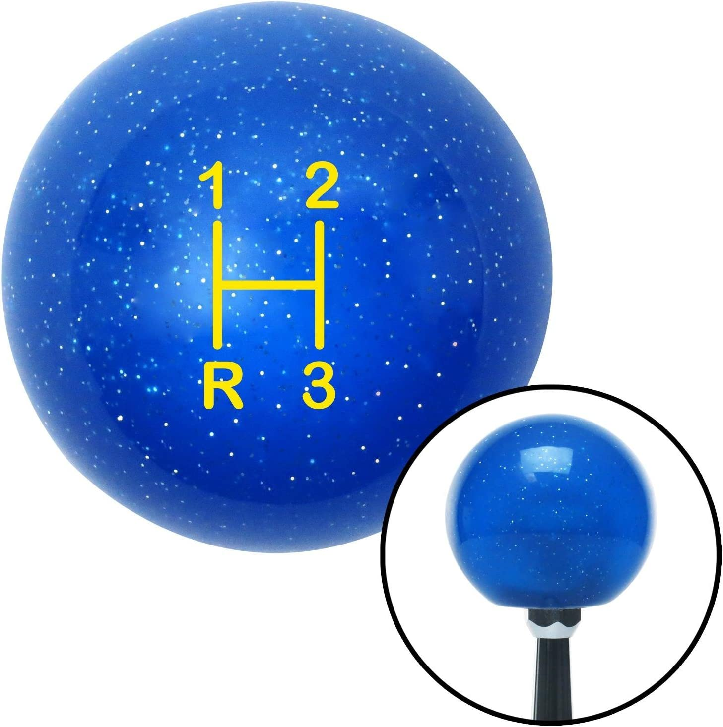 American Shifter 78774 Blue Metal Flake Shift Knob with M16 x 1.5 Insert Red Shift Pattern 13n