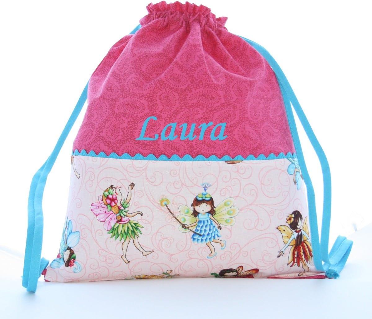 Bolsa mochila Hadas, en tela algodón, personalizada con nombre ...