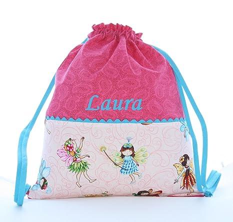Bolsa mochila Hadas, en tela algodón, personalizada con nombre. /30x35 cm.