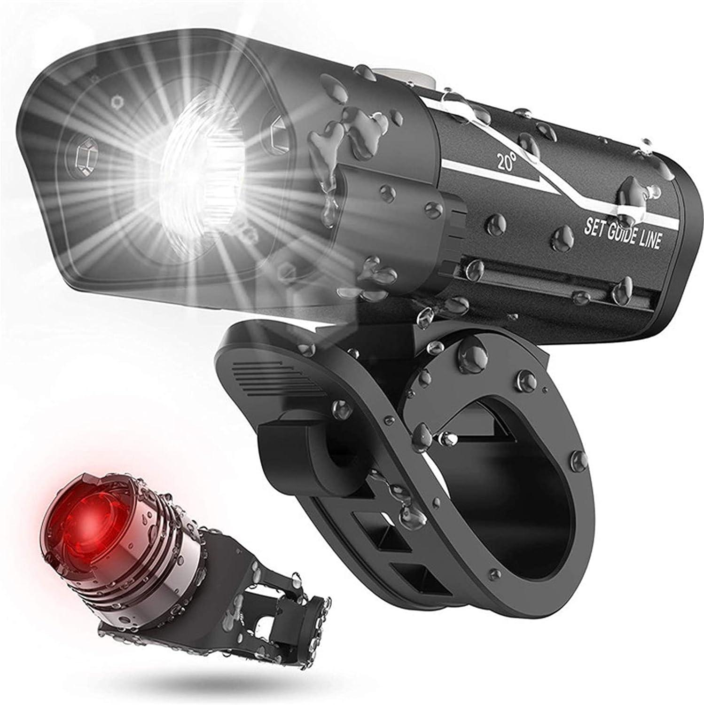 KKmoon USB Luces Bicicleta Delantera y Trasera Linterna Recargable LED Impermeable 5 Modos De Iluminación para Bicicletas, Carretera, Montaña