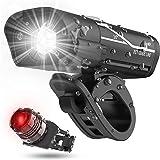 KKmoon USB Luces Bicicleta Delantera y Trasera Linterna Recargable LED Impermeable 5 Modos De Iluminación para…