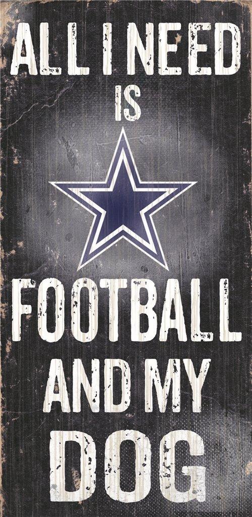 Football And Dog 6x12 Dallas Cowboys Wood Sign
